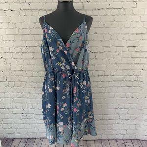 Women's 2X Charming Charlie Blue Floral Boho Dress